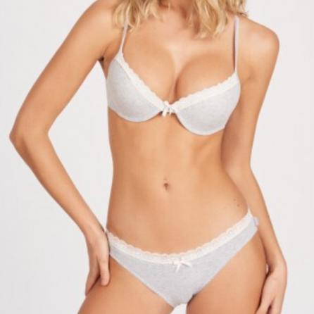 Conjunto de algodón Sujetador Doble Push Up y Braga bikini, Kehat