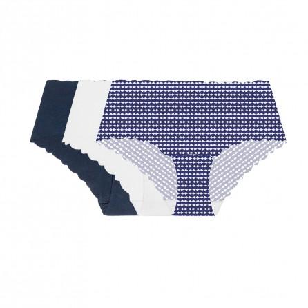 Pack x 3 culottes algodón cortado a láser, Blanco/Marino/Estampado, Variance