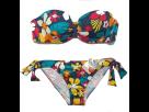 Bikini Sin Tirantes con Copa Relleno, Estampado Flores, Cherry Beach.