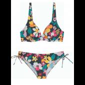 Bikini Copa Entera Con Aros, Sin Relleno, Estampado de Flores, Cherry Beach.