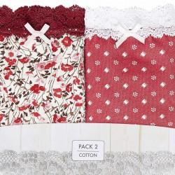Pack 2 Bragas Bikini de Algodón con Encaje, Coquettes Lace, Janira