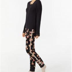 Pijama de Algodón camiseta lisa y estampado floral, Promise