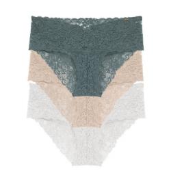 Pack x 3 braguitas bikini, Verde/Blanco/Tierra, LANA, DORINA