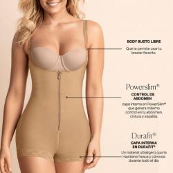 Faja Body, Reductor de talla con Realce, Leonisa Nude Frontal
