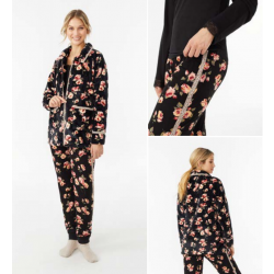Pijama de Algodón Tres Piezas, con Chaqueta de Sedalina y Estampado Floral, Promise