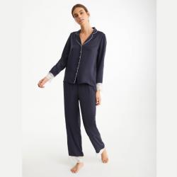 Pijama largo satén azul marino, PROMISE