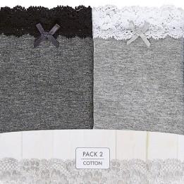 Pack x2 Tangas de Algodón con Encaje, Coquettes Lace, Janira