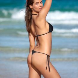 Conjunto bikini para tomar el sol con copa triangular y tanga, Leonisa