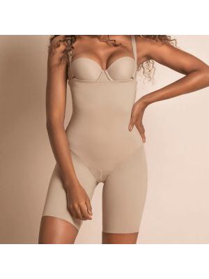 Faja Pantalón Reductor con Tirantes, Control Moderado, Leonisa Nude Frontal
